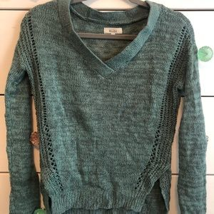 Turquoise Sweater with cut outs